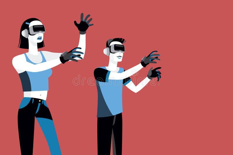 Millennials med virtuell verklighetapparater stock illustrationer