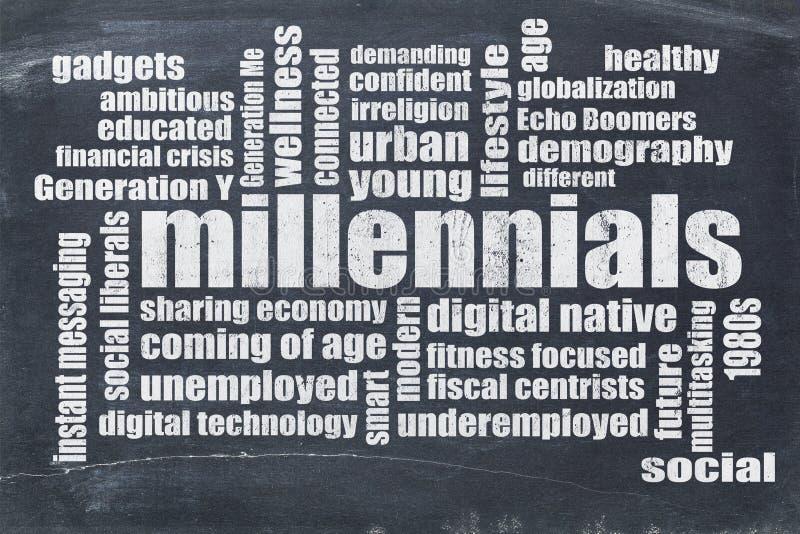 Millennials ordmoln på svart tavla stock illustrationer
