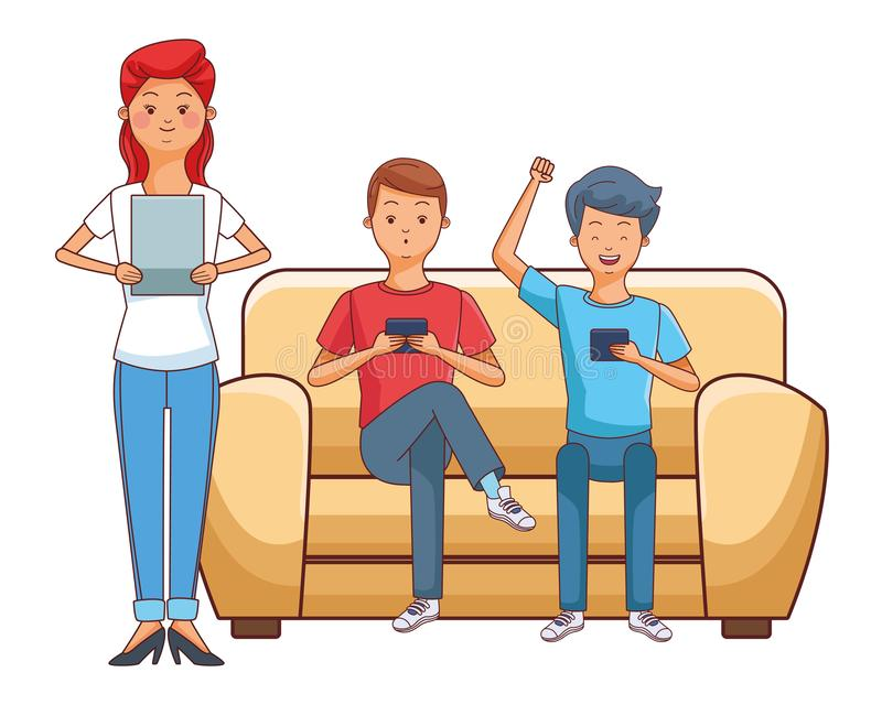 Millennials and smartphones. Young people happy friends using technology smartphone and tablet devices cartoon vector illustration graphic design stock illustration