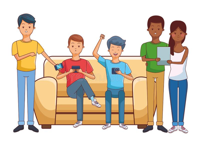 Millennials and smartphones. Young people happy friends using technology smartphone and tablet devices cartoon vector illustration graphic design royalty free illustration