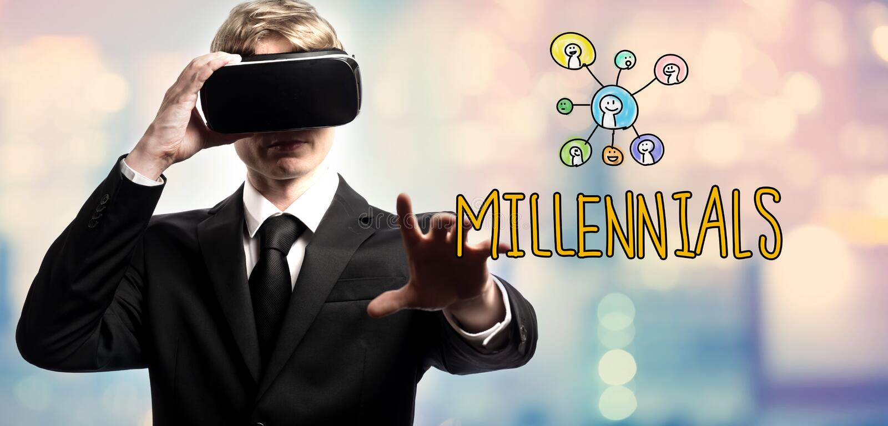 Millennials tekst z biznesmenem używa rzeczywistość wirtualną zdjęcie royalty free