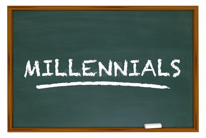 Millennials utveckling Y Demo Group Chalk Board Word royaltyfri illustrationer