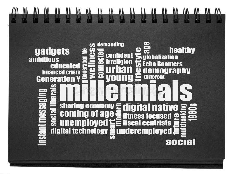 Millennials word cloud in sketchbook stock photography