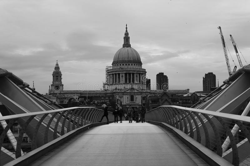 Millennium bridge. In black and white royalty free stock photography