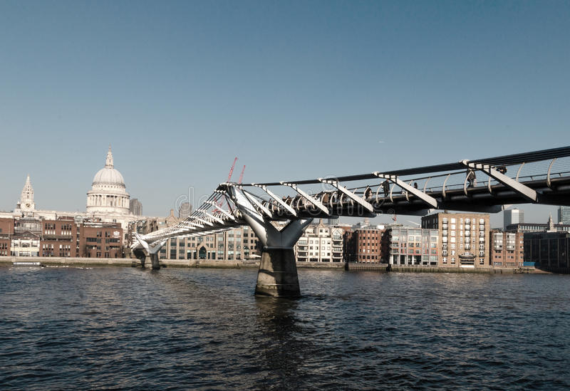 Millennium Bridge, London. With St Paul`s Cathedral in distance, taken on crisp winters morning in January 2017 stock photos