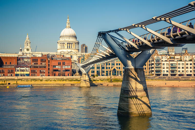 Millennium bridge in London. UK stock photo