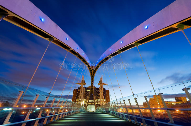 Millennium bridge manchester from inside royalty free stock image