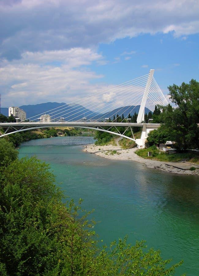 Millennium bridge in Podgorica, Montenegro. Millennium bridge over Moraca river, Podgorica, Montenegro royalty free stock photography