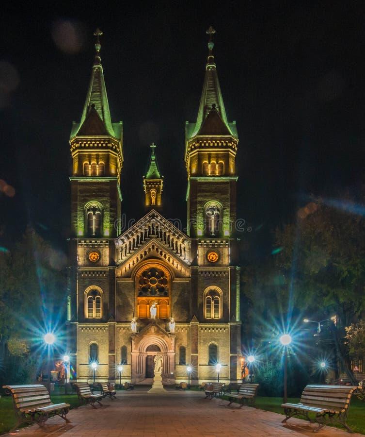 Millennium Church by night - Timisoara stock photo