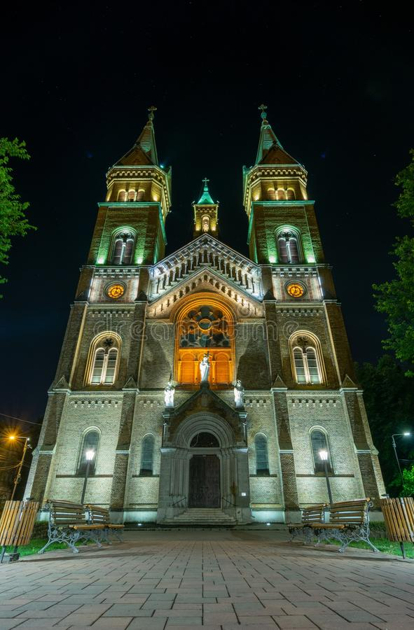 The Millennium Church in Timisoara. Picture taken at night on 2nd of September 2019. Churches, millennia, timisoaras, romanias, catholics, architectures royalty free stock photography