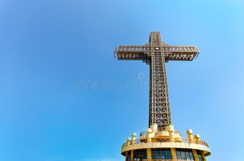 Millennium Cross at Skopje Vodno Hill in Macedonia stock photo