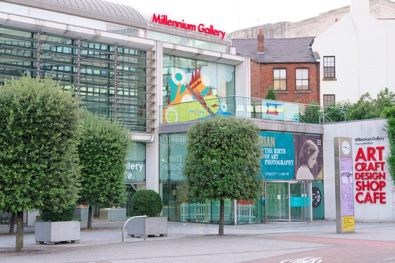 Millennium Gallery in the center of Sheffield, England stock image