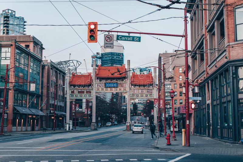 Millennium Gate on Pender Street in Chinatown, Vancouver city stock image