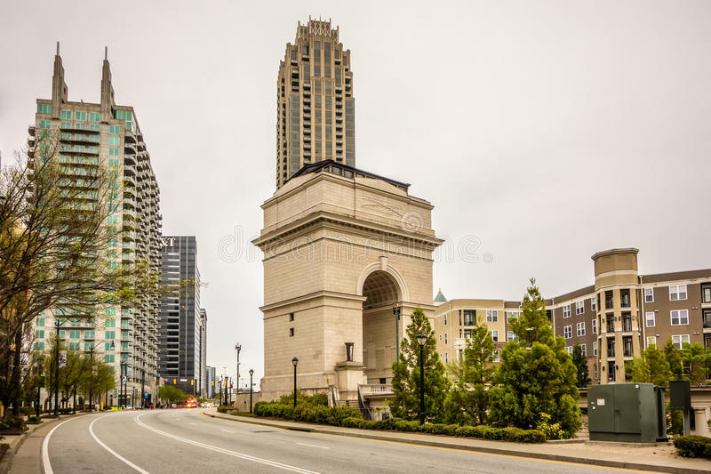 Millennium Gate triumphal arch at Atlantic Station in Midtown At royalty free stock photos