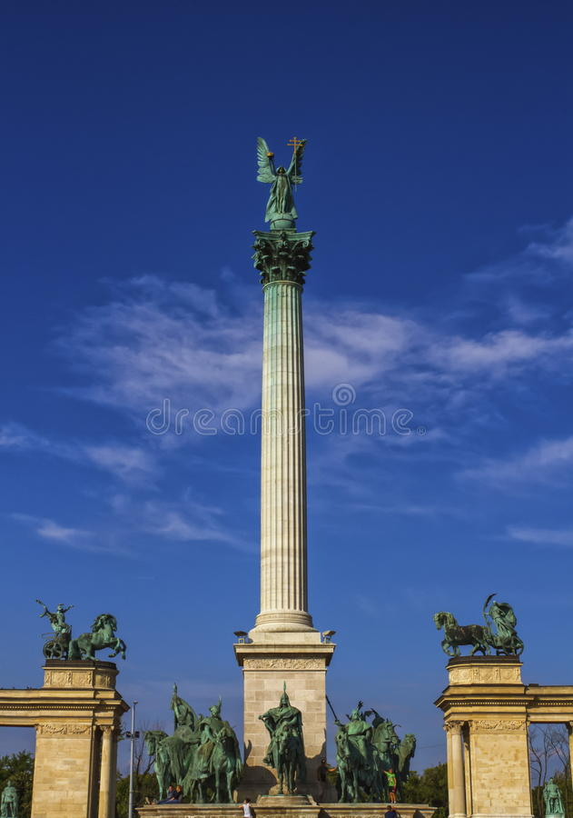 Millennium Monument on the Heroes` Square or Hosok Tere, Budapest, Hungary. Millennium Monument on the Heroes` Square or Hosok Tere by day, Budapest, Hungary stock image