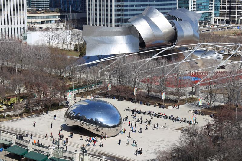 Millennium Park and Cloud Gate sculpture in Chicago stock photo