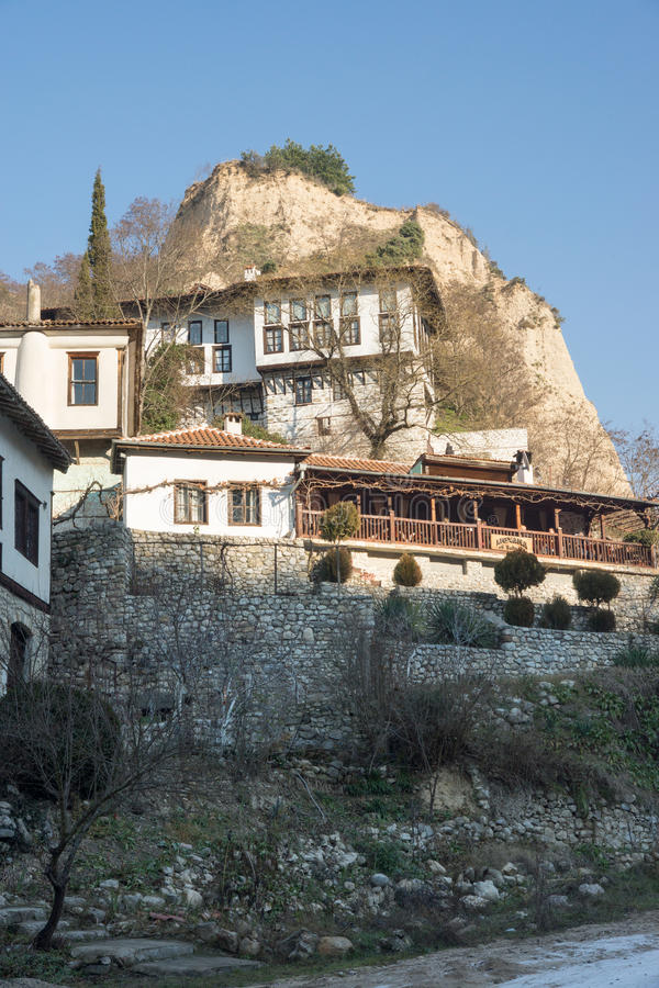 Melnik: the city and the mountains in Bulgaria stock photography