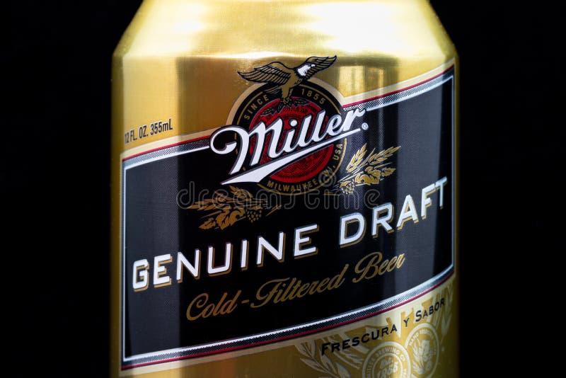 Miller Genuine Draft Beer y logotipo de la marca registrada fotos de archivo libres de regalías