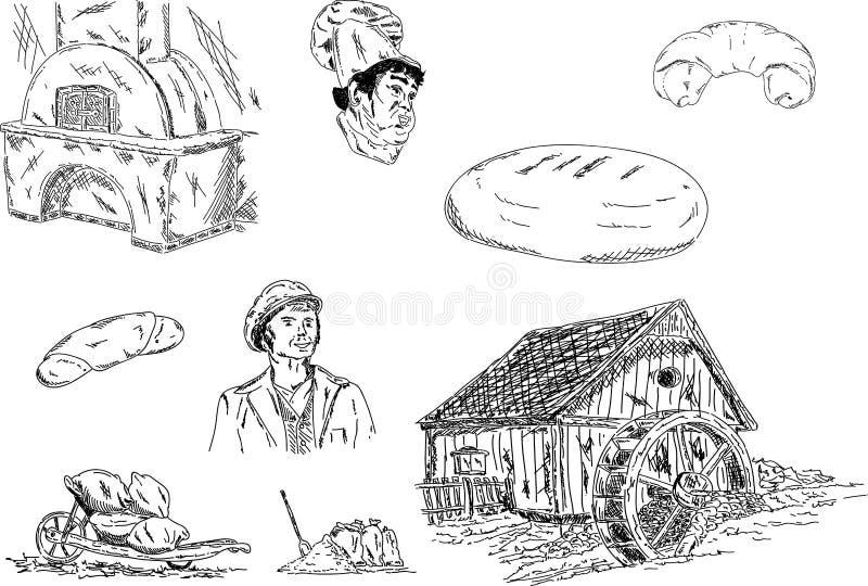 Miller y panadero ilustración del vector