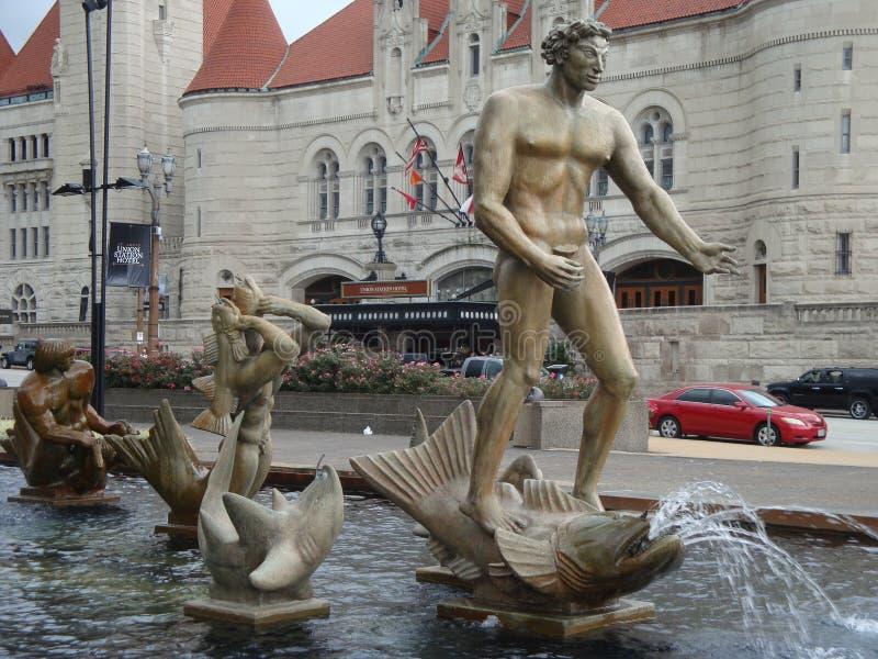Milles喷泉雕象 免版税图库摄影