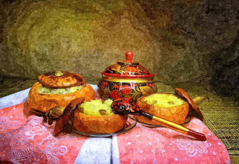 Millet porridge baked in a pumpkin. Rustic still-life. Painting wet watercolor on paper. Naive art. Abstract art. Drawing watercolor on paper stock illustration