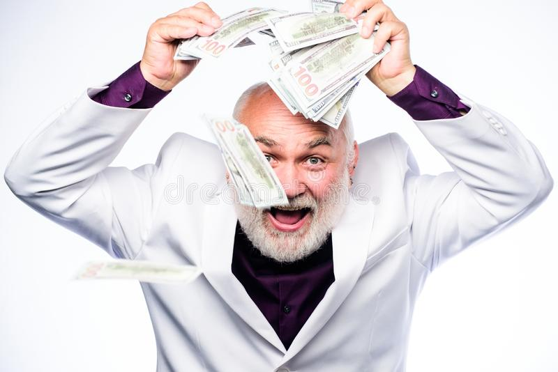 milliardaire Homme d'affaires r?ussi l'homme mûr riche a un bon nombre d'argent blanc de r?ussite d'isolement par concept d'affai photos libres de droits