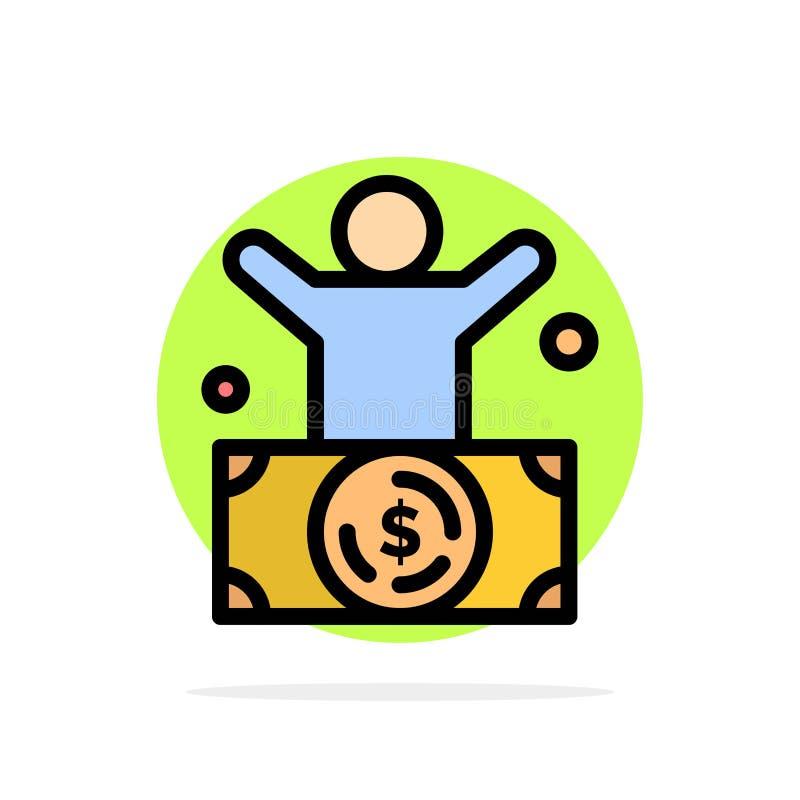Milliardaire, homme, millionnaire, personne, icône de couleur de Rich Abstract Circle Background Flat illustration libre de droits