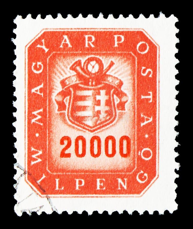 20 milliards de timbre-poste, de bras et de klaxon de courrier, serie, vers 1946 photos libres de droits