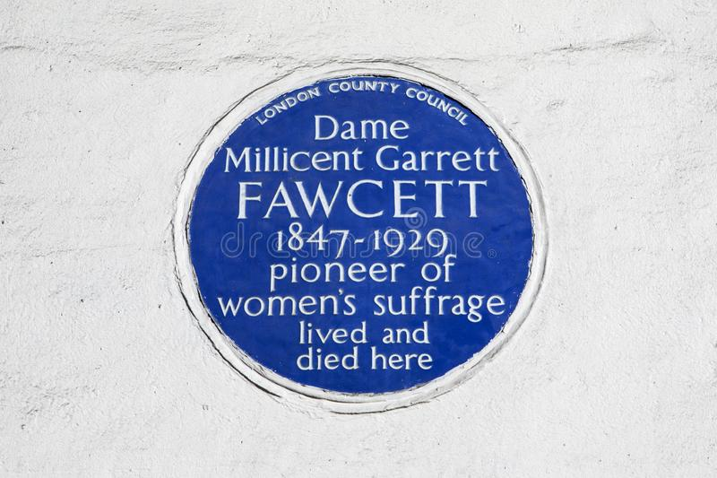 Millicent Fawcett Plaque in London. London, UK - February 26th 2019: A blue plaque on Gower Street in London, marking the location where suffragette Dame royalty free stock photography