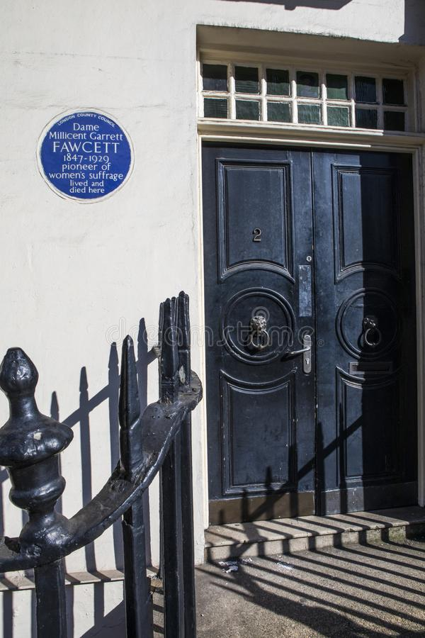 Millicent Fawcett Plaque in London. London, UK - February 26th 2019: A blue plaque on Gower Street in London, marking the location where suffragette Dame royalty free stock image