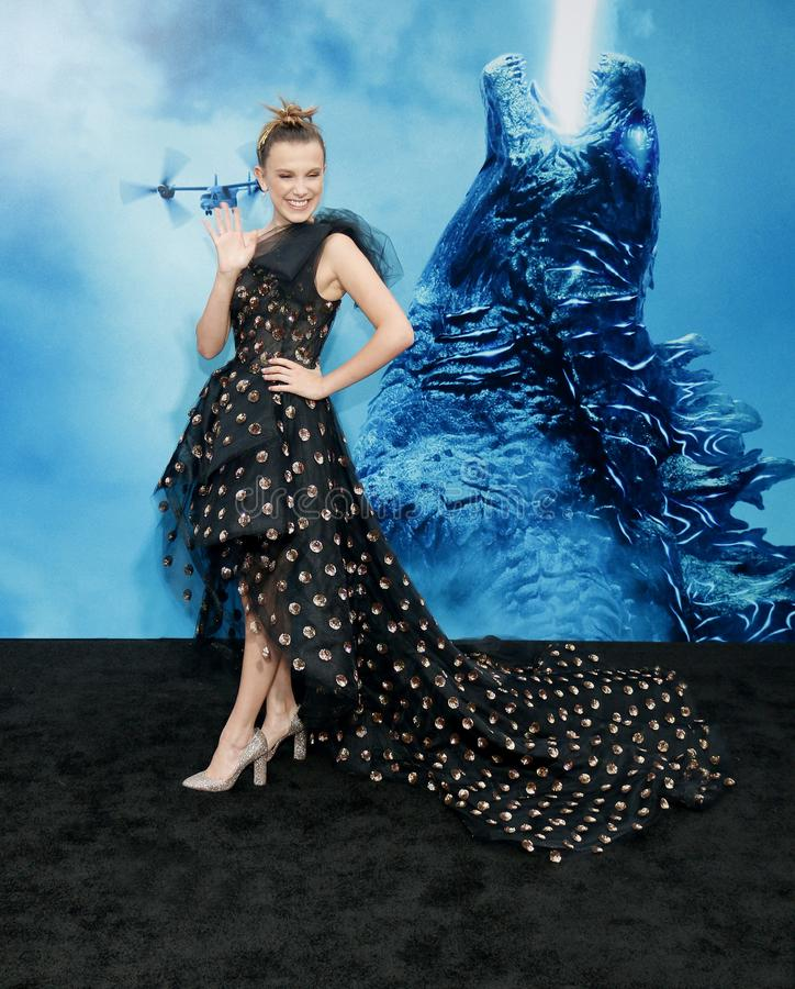 Millie Bobby Brown. At the Los Angeles premiere of `Godzilla: King Of The Monsters` held at the TCL Chinese Theatre in Hollywood, USA on May 18, 2019 stock photos