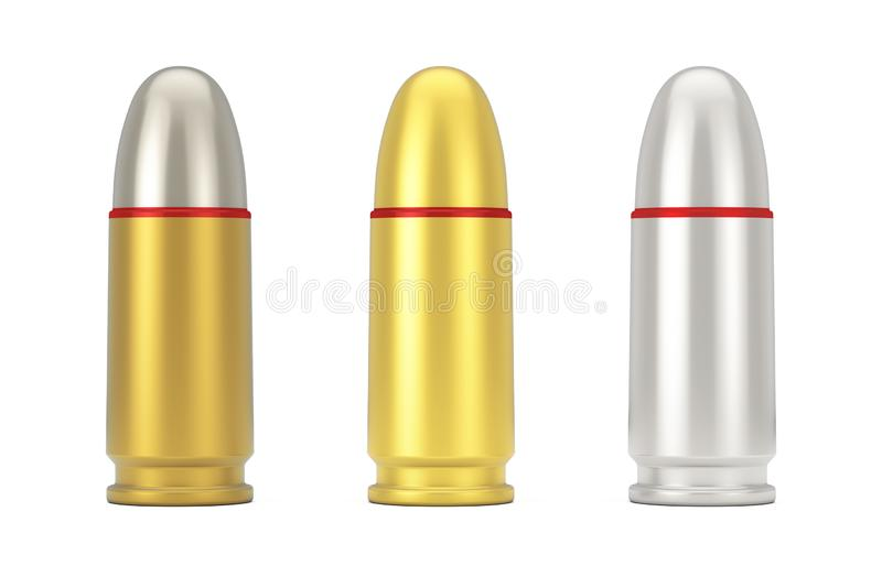 9 Millimeter asphaltieren die goldenen und silbernen Gewehr-Kugeln Wiedergabe 3d vektor abbildung