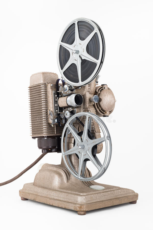 8 Millimeter-Film-Projektor mit Filmrollen stockbild