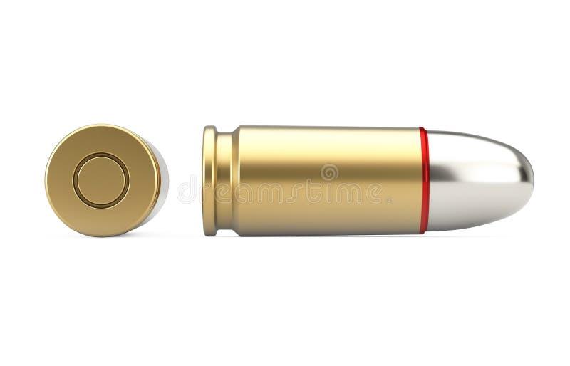 9 Millimeter-Metallgewehr-Kugel Wiedergabe 3d lizenzfreie abbildung