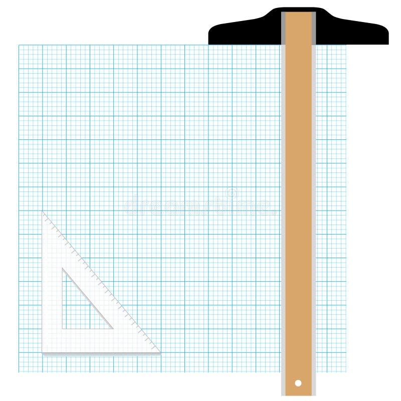 Millimeterpapier dat Hulpmiddelen opstelt stock illustratie
