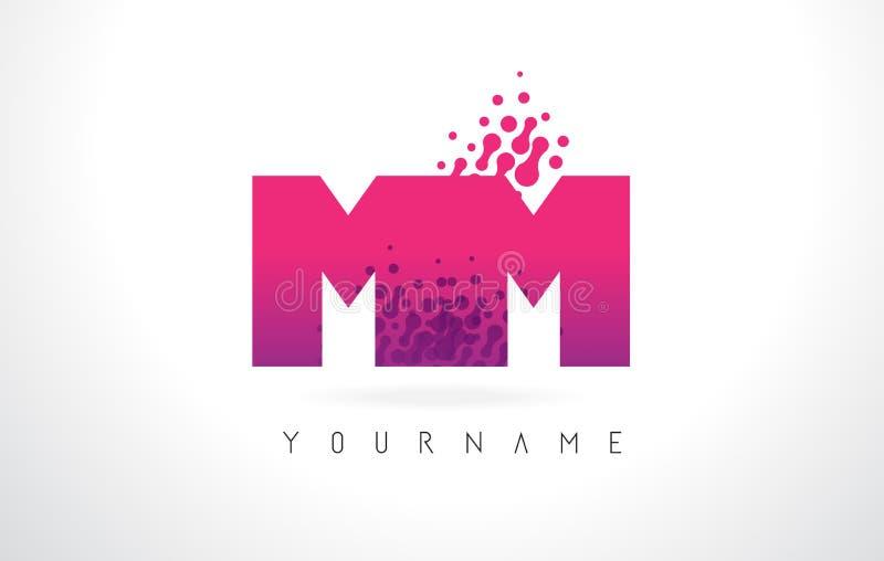 Millimetro m. m. Letter Logo con colore e le particelle porpora rosa Dots Des illustrazione vettoriale