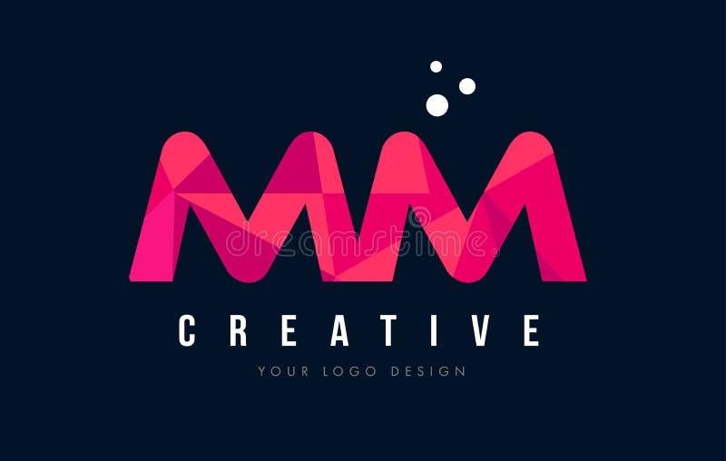 Millimetro m. m. Letter Logo con il poli concetto rosa basso porpora dei triangoli illustrazione di stock