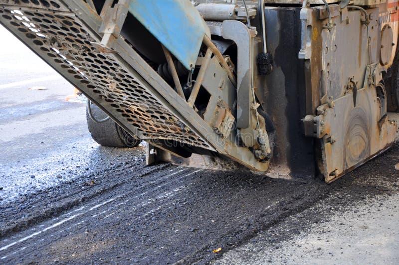 Milling of asphalt royalty free stock photo