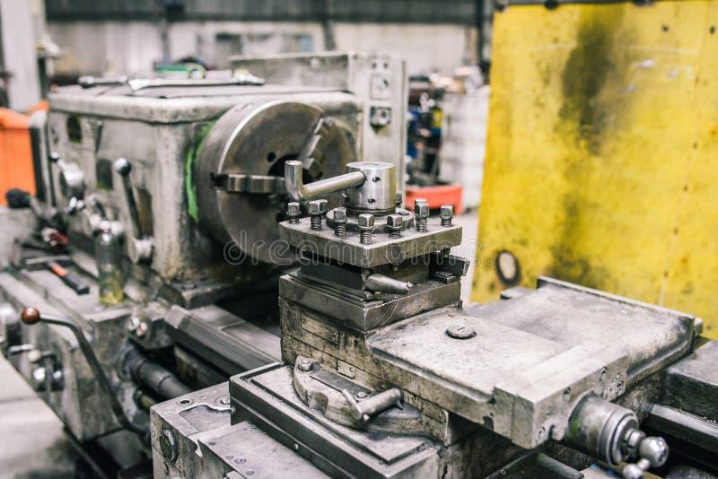 Milling lathe metalworking machine parts. Metal processing concept. Workshop industrial enterprises. Mechanical stock image
