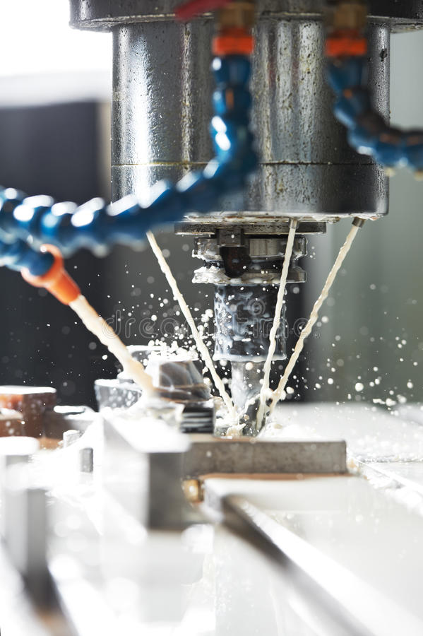Download Milling The Metal Blank With Coolant Royalty Free Stock Image - Image: 29177516