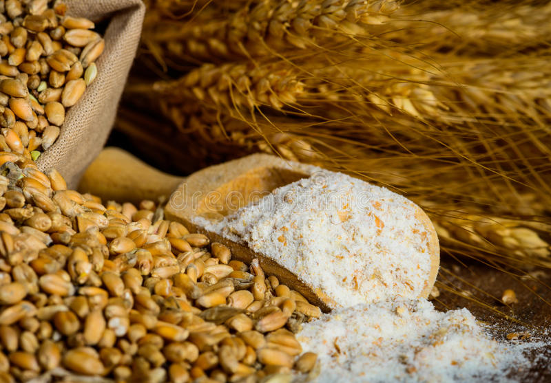 Milling wheat ingredients stock photo