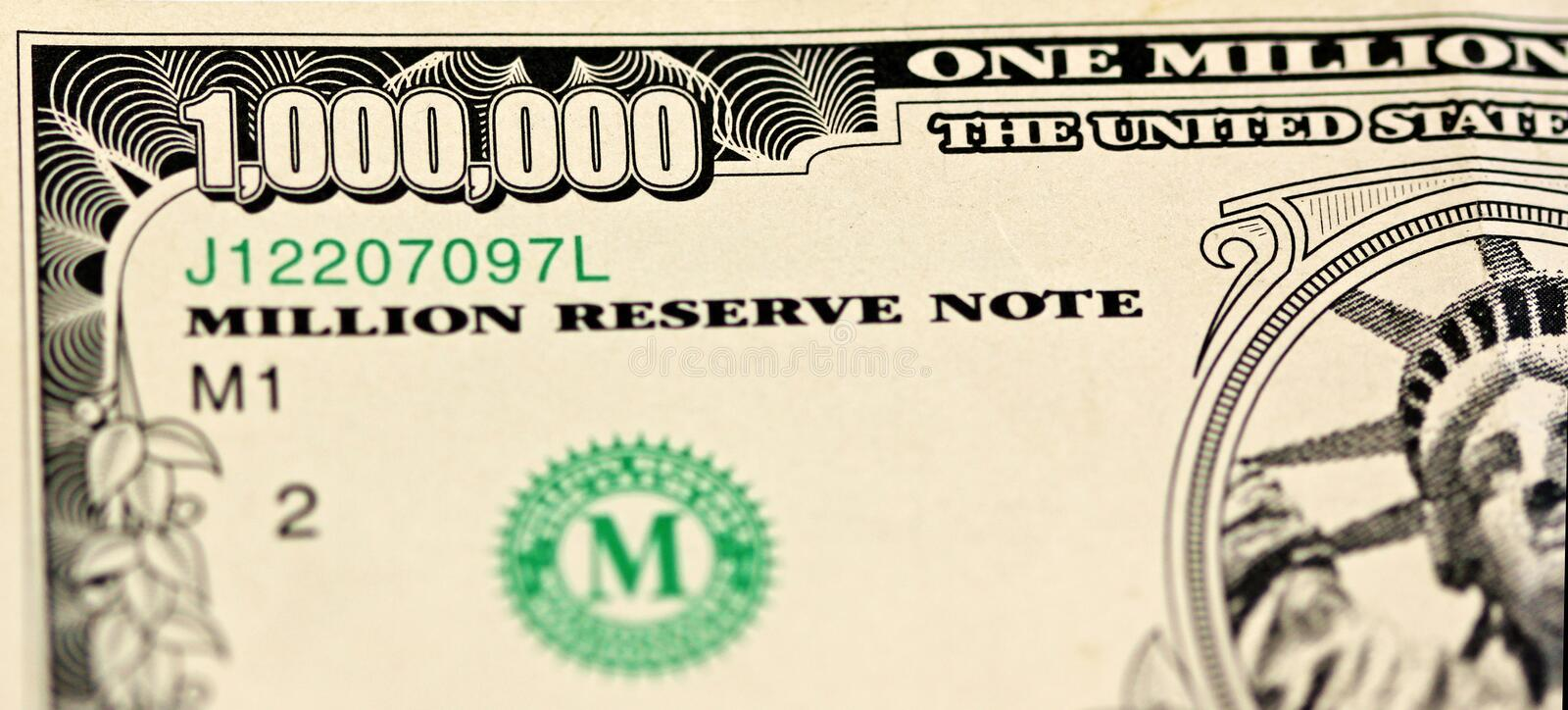 Million. Photo of a section of a fake million dollar bill royalty free stock photo