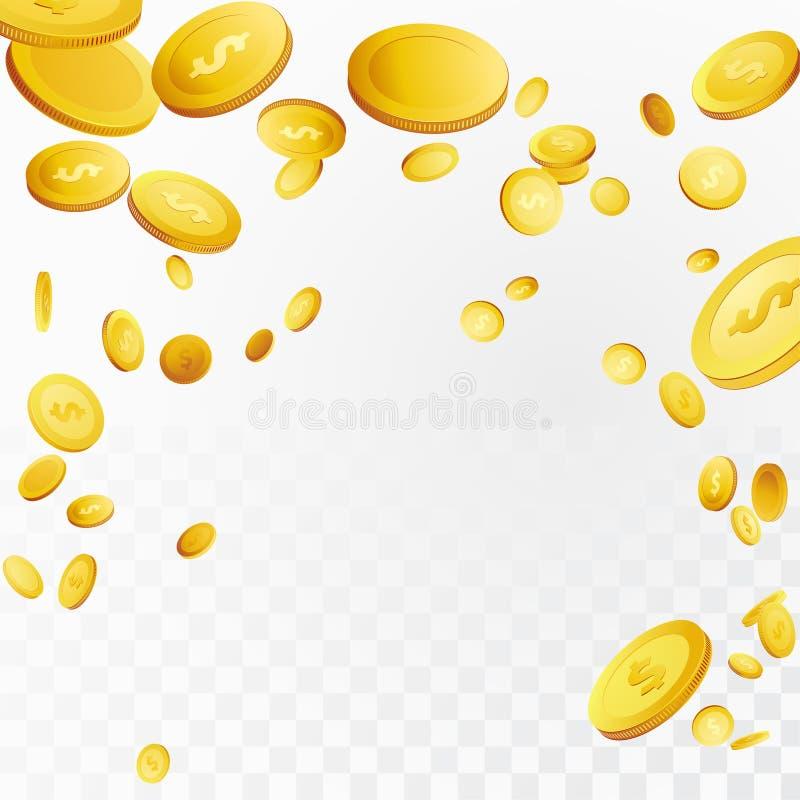 Million de dollars de gros lot de dingue d'argent dans le ciel au-dessus de à carreaux illustration de vecteur