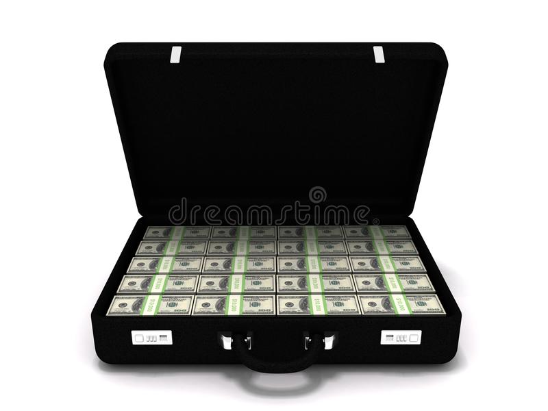 Million dollar briefcase. 3D rendering of a million dollar briefcase stock photography