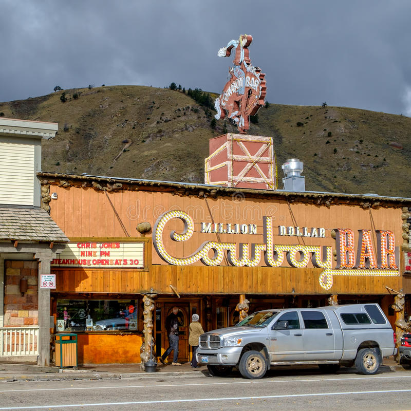 Million Dollar Cowboy Bar in Jackson, WY. Jackson, WY, USA – October 1, 2014: The Million Dollar Cowboy Bar at Jackson, Town Square. This legendary bar is stock photo