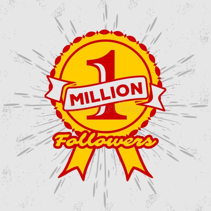 1 Million followers achivement symbol. stock illustration