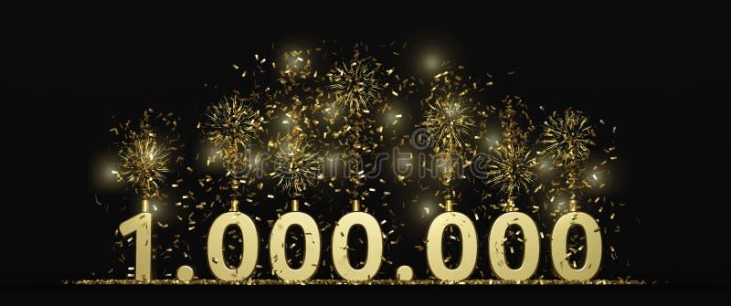 1 million followers or prize black background 3D rendering vector illustration