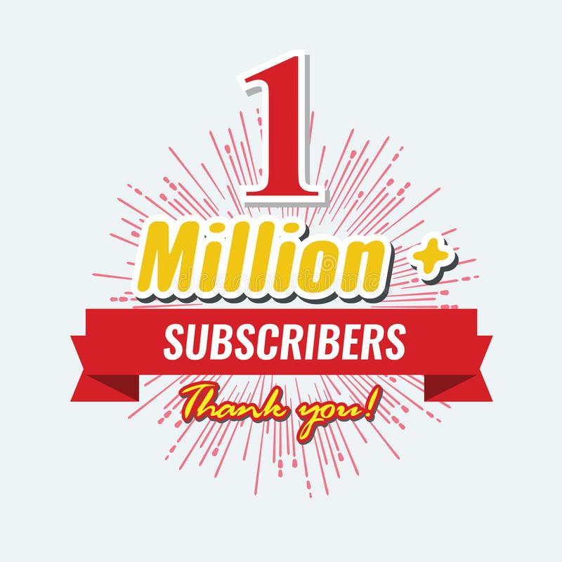 1 Million followers or subscribers achivement symbol design with ribbon and star for social media. Vector illustration. vector illustration
