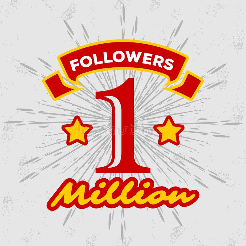 1 Million followers achivement symbol. vector illustration