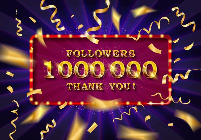 1 million followers thank you gold illustration. stock illustration